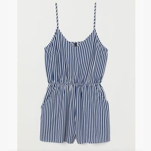 Divided Blue/White Striped Jumpsuit